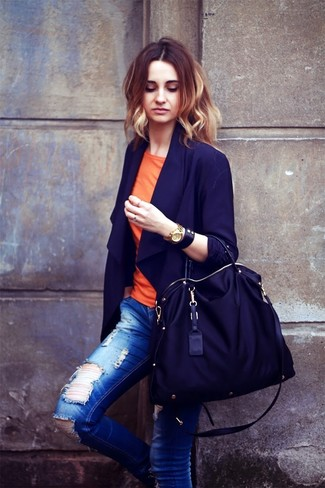 How to wear: navy blazer, orange crew-neck t-shirt, blue ripped skinny jeans, black canvas tote bag