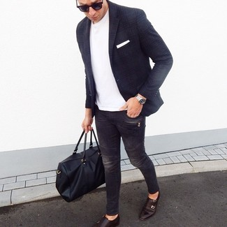 How to wear: navy plaid wool blazer, white crew-neck t-shirt, charcoal skinny jeans, dark brown leather double monks