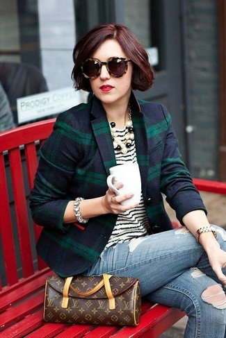 Women's Navy and Green Plaid Blazer, White and Black Horizontal Striped Crew-neck T-shirt, Blue Ripped Skinny Jeans, Dark Brown Print Leather Clutch