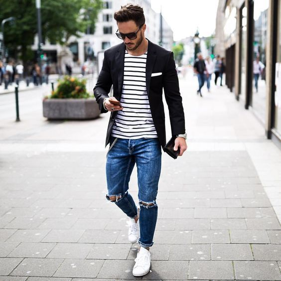 Blue Ripped Skinny Jeans | Men's Fashion