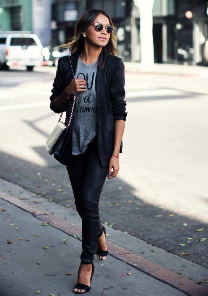 women 39 s black blazer grey print crew neck t shirt black. Black Bedroom Furniture Sets. Home Design Ideas