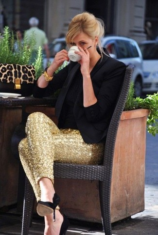 How to wear: black blazer, black crew-neck t-shirt, gold sequin skinny pants, black suede pumps