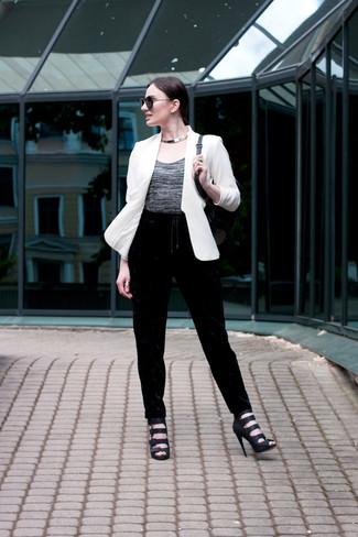 Women's White Blazer, Grey Crew-neck T-shirt, Black Velvet Sweatpants, Black Leather Heeled Sandals