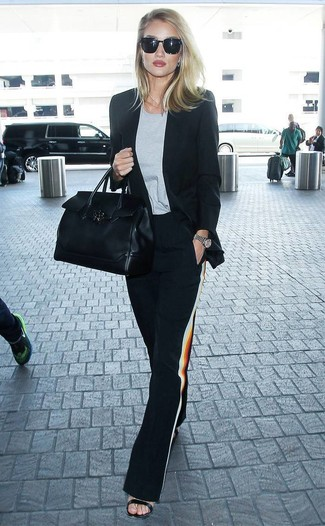 How to wear: black blazer, grey crew-neck t-shirt, black wide leg pants, black leather heeled sandals