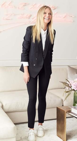 Blazer croise noir chemise de ville blanche pantalon slim noir large 27207