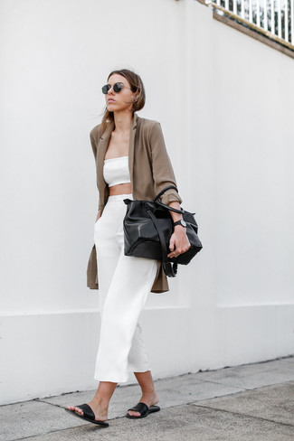 Brown Blazer Outfits For Women: Make a brown blazer and white culottes your outfit choice for a casual look with a twist. If you wish to easily dial down this outfit with one item, why not complete this outfit with black leather flat sandals?