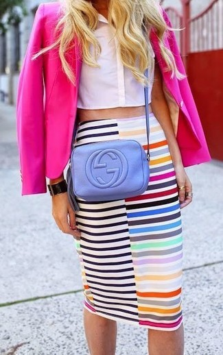 How to Wear a Hot Pink Blazer For Women: A hot pink blazer and a multi colored horizontal striped pencil skirt are a cool combo to add to your off-duty collection.