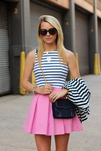 How to wear: white and navy horizontal striped blazer, white and blue horizontal striped cropped top, pink skater skirt, black suede crossbody bag