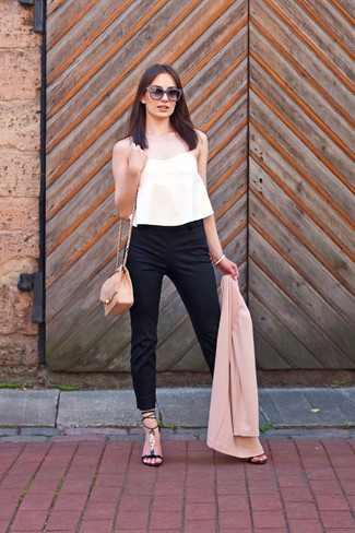 Women's Pink Blazer, White Pleated Cropped Top, Black Skinny Pants, Black Leather Heeled Sandals