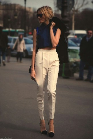 How to wear: black blazer, navy cropped top, beige tapered pants, black suede pumps