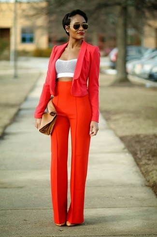 Women's Red Blazer, White Cropped Top, Orange Wide Leg Pants, Tan ...