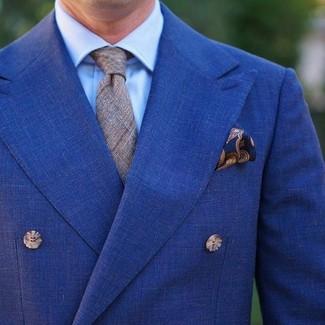 Cómo combinar: blazer cruzado azul, camisa de vestir celeste, corbata de tartán gris, pañuelo de bolsillo de paisley azul marino