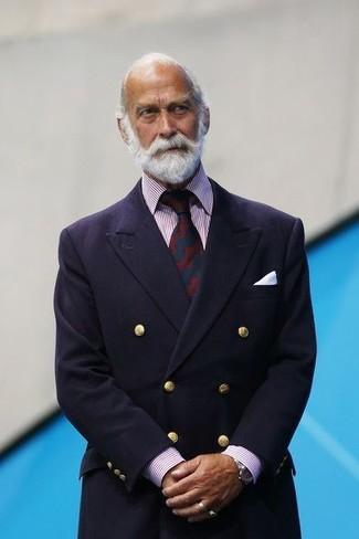 Cómo combinar: blazer cruzado azul marino, camisa de vestir de rayas verticales en blanco y rojo, corbata estampada en rojo y azul marino, pañuelo de bolsillo blanco