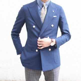 Cómo combinar: blazer cruzado azul marino, camisa de vestir celeste, pantalón de vestir de tartán gris, corbata de paisley verde oliva