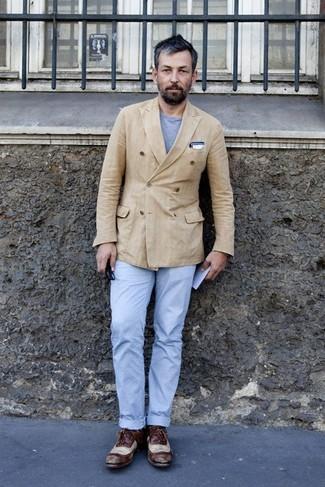 Camiseta con cuello circular gris de Dolce & Gabbana
