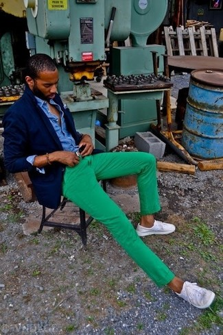 Men's Navy Blazer, Blue Denim Shirt, Green Chinos, White Low Top Sneakers
