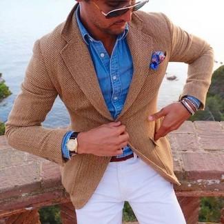 How to wear: tan herringbone blazer, blue denim shirt, white chinos, blue paisley pocket square