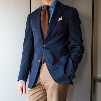 How to wear: navy blazer, blue denim shirt, khaki chinos, brown wool tie