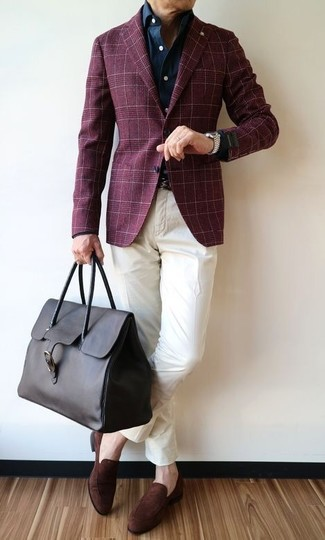 A burgundy plaid blazer and a Saks Fifth Avenue men's Collection Full Grained Leather Belt work together beautifully. A pair of dark brown suede loafers fits right in here. So if it's a summer day and you want to look sharp without putting too much effort, this look will do the job in next to no time.