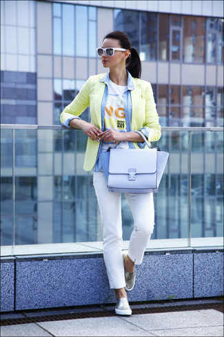 A yellow blazer and white fitted pants are perfect for both running errands and a night out. Mix things up by wearing silver slip-on sneakers.