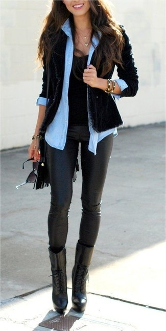Try teaming a light blue denim shirt with black leather leggings to create a great weekend-ready look. Let's make a bit more effort now and throw in a pair of black leather lace-up ankle boots.