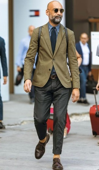 How to wear: olive blazer, blue denim shirt, black dress pants, dark brown leather derby shoes