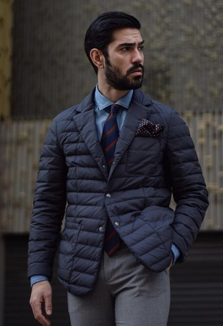 How to wear: black quilted blazer, blue denim shirt, grey wool dress pants, red and navy vertical striped tie