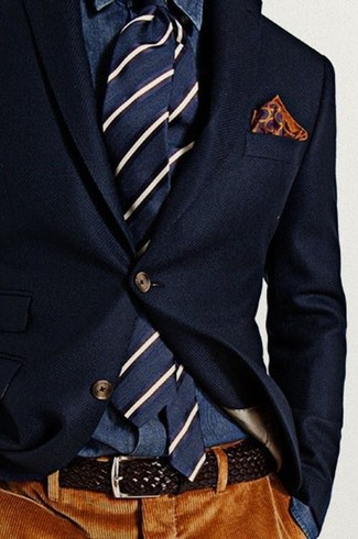 How to wear: navy wool blazer, navy denim shirt, brown corduroy dress pants, navy and white vertical striped tie