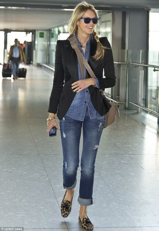 How to wear: black blazer, blue denim shirt, blue jeans, brown leopard suede tassel loafers