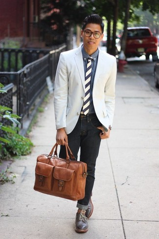 Men's White Blazer, Blue Denim Shirt, Charcoal Jeans, Charcoal ...