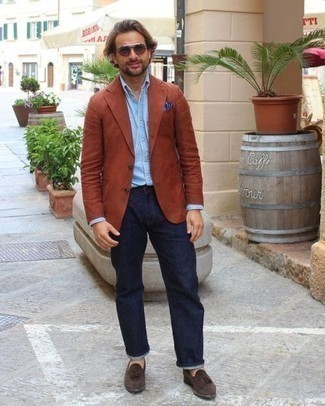 Dark Brown Suede Tassel Loafers Outfits: For an ensemble that's street-style-worthy and effortlessly classic, reach for a tobacco blazer and navy jeans. Take a more refined approach with shoes and add a pair of dark brown suede tassel loafers to the mix.