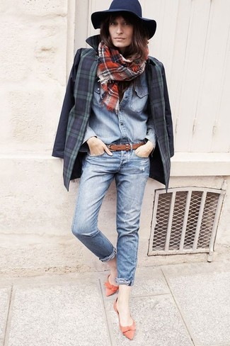 Women's Navy and Green Plaid Blazer, Light Blue Denim Shirt, Light Blue Ripped Jeans, Red Leather Ballerina Shoes