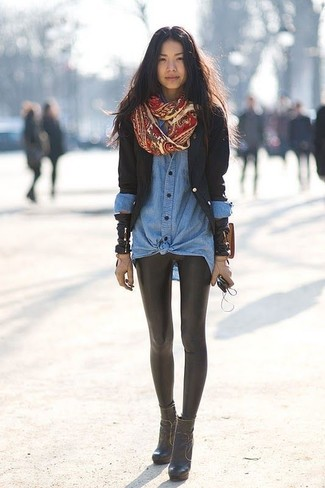How to wear: black blazer, blue denim shirt, black leather leggings, black leather ankle boots