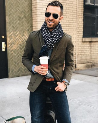 How to wear: olive cotton blazer, blue denim shirt, navy skinny jeans, navy paisley cotton scarf