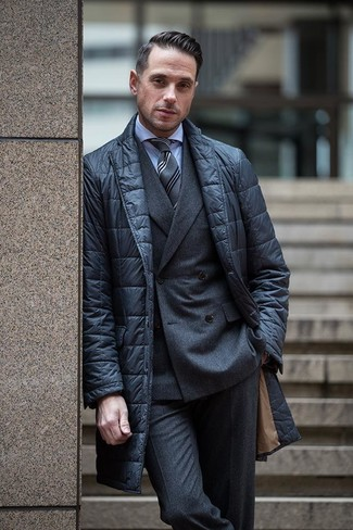 How to wear: black quilted blazer, charcoal wool double breasted blazer, light blue dress shirt, charcoal wool dress pants