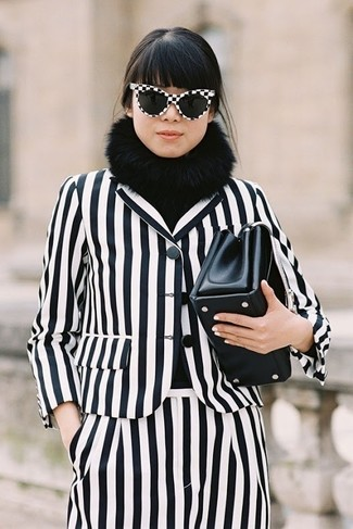 How to wear: white and black vertical striped blazer, white and black vertical striped dress pants, black leather clutch, black fur scarf