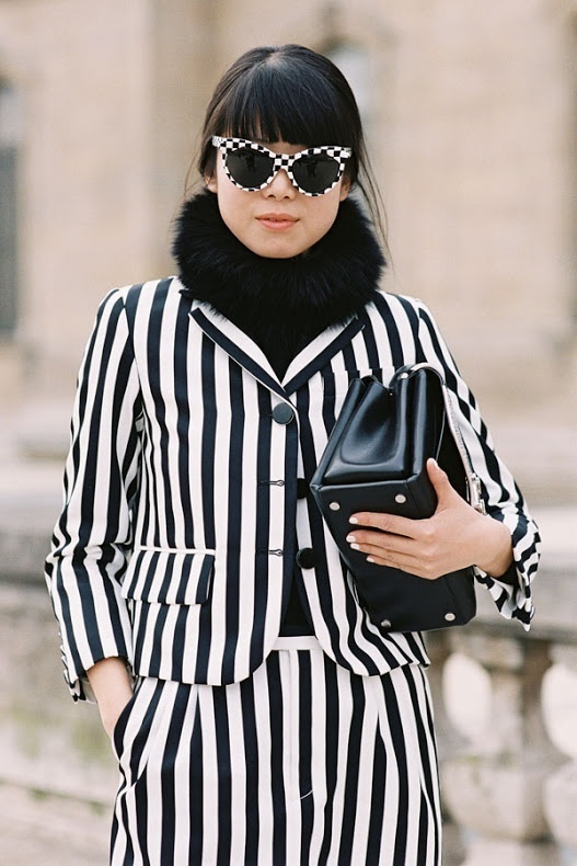 99bfd6ca87927 How to wear: white and black vertical striped blazer, white and black  vertical striped