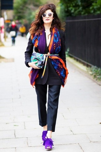 How to wear: black blazer, black dress pants, violet suede mules, multi colored print leather clutch