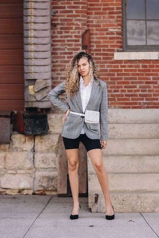 How to wear: grey plaid blazer, white dress shirt, black bike shorts, black suede pumps