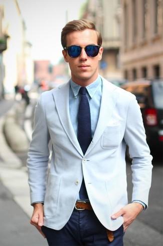 Men's White Blazer, Light Blue Dress Shirt, Navy Chinos, Navy Knit ...