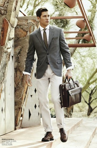 Consider pairing a grey blazer with a Lands' End Long Silk Wool Necktie to achieve new levels in outfit coordination. For footwear, grab a pair of dark brown leather derby shoes. You can bet this getup is great come summertime.