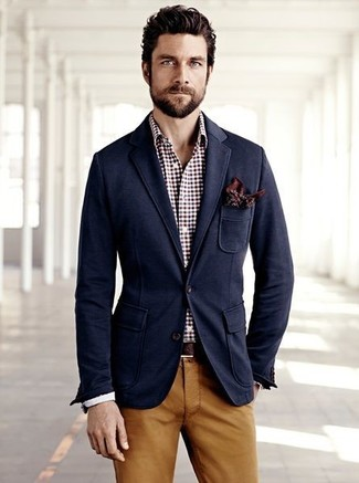 How to wear: navy blazer, burgundy gingham dress shirt, tobacco chinos, brown print pocket square