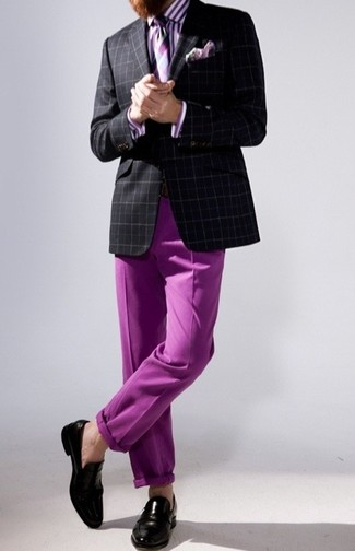 Black and White Plaid Blazer Outfits For Men: Prove that you do classic and casual men's style like a pro in a black and white plaid blazer and purple chinos. A pair of black leather loafers immediately levels up the ensemble.