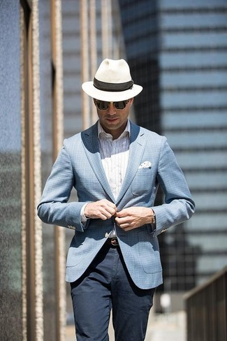 How to wear: light blue plaid blazer, white vertical striped dress shirt, navy chinos, white straw hat