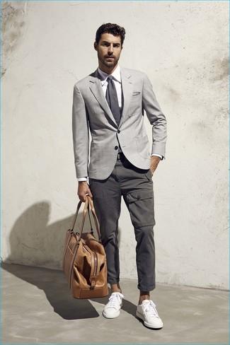 Skinny Fit Textured Grey Suit Jacket