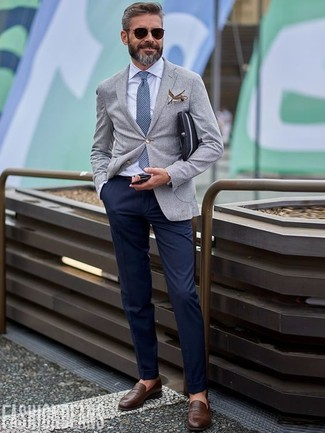 How to wear: grey wool blazer, white dress shirt, navy chinos, dark brown leather loafers