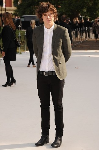 Harry Styles wearing Olive Blazer, White Dress Shirt, Black Chinos, Black Leather Chelsea Boots