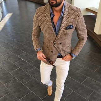 How to wear: brown check blazer, blue dress shirt, white chinos, tan suede tassel loafers