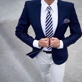 Men's Navy Blazer, White Dress Shirt, Beige Chinos, Navy and White ...