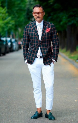 How to wear: teal check blazer, white dress shirt, white chinos, teal leather loafers